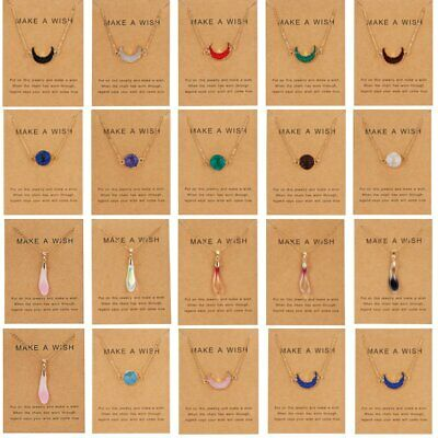$0.76 • Buy Natural Stone Moon Waterdrop Pendant Necklace Choker Chain Card Women Jewelry
