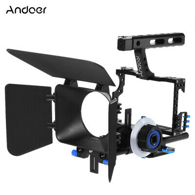 DSLR Camera Camcorder Rig Video Cage Kit Matte Box Follow Focus For Sony A7 A7R • 52.99£