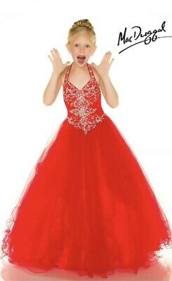 $125 • Buy NWT Mac Duggal Sugar 48319 Girls Size 8 Red Pageant Dress