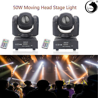 2PCS U`King 50W Stage Light LED Moving Head GOBO DMX Remote DJ Wedding Party KTV • 139.99£
