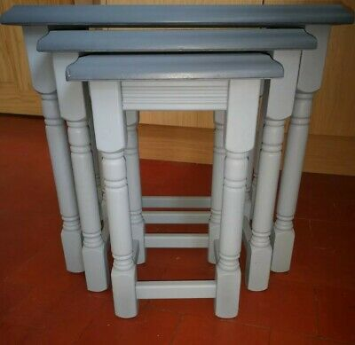 £125 • Buy Hand Painted Solid Pine Nest Of Three Tables Mid Lead Grey& Tallanstown Grey