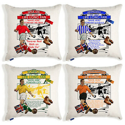 Personalised Vintage Football Cushion Cover Fan Pillow Dad Christmas Gift VFC • 12.95£
