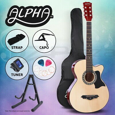 "AU93.95 • Buy Alpha 38"" Inch Wooden Acoustic Guitar Classical Folk Full Size W/ Bag Capo Tuner"