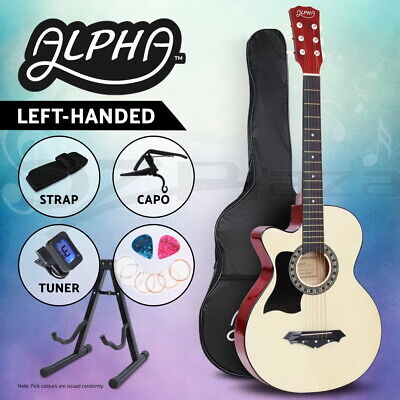 """AU82.95 • Buy Alpha 38"""" Inch Wooden Acoustic Guitar Left Handed Classical Folk Full Size Capo"""