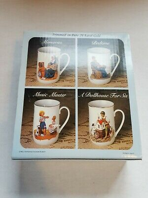 $ CDN30.45 • Buy Collector's Mug Set By Norman Rockwell Trimmed In 24 Karat Gold