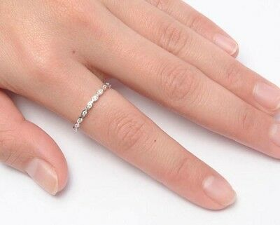 £10.01 • Buy Eternity Ring Solid Sterling Silver 925 Clear CZ Jewelry Band Width 2 Mm Size 8