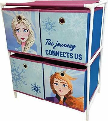 Disney Frozen II Bedroom Cabinet Chest Of  Four Box Drawers Toy Storage 53021 • 16.95£