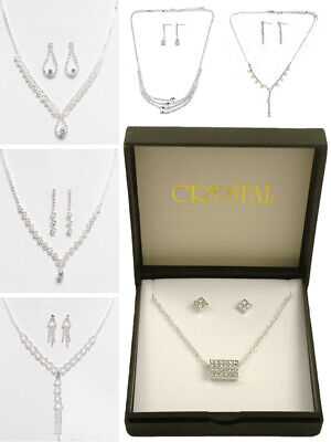 £3.50 • Buy Womens Jewellery Fashion Necklace/Earring Set Silver Crystal Handcrafted