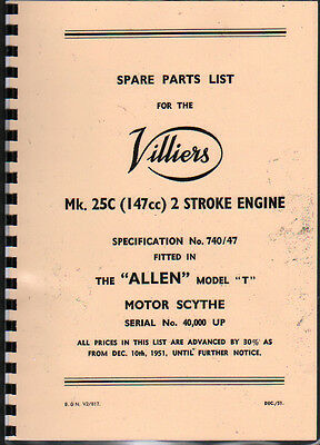 Villiers Mk.25C (Allen Motor Scythe) Engine Illustratated Spare Parts List • 7£