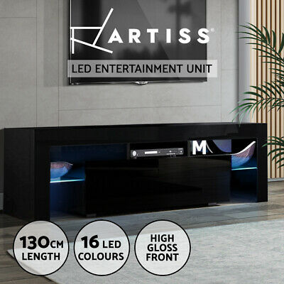 AU139.95 • Buy Artiss TV Cabinet Entertainment Unit Stand RGB LED Gloss Furniture 130cm Black