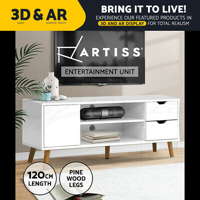 AU79.95 • Buy Artiss TV Cabinet Entertainment Unit Stand Wooden Scandinavian 120cm White
