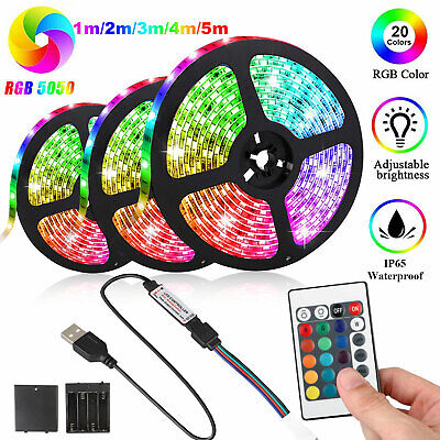$9.97 • Buy Battery Powered 5050 SMD Tape RGB LED Strip Light Flexible Waterproof 1/2/3/4/5M