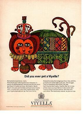 1963 Viyella Fabric William Hollings & Co. London England Cat Animal Print Ad • 7.28£