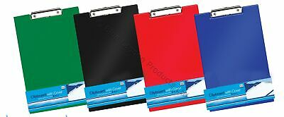 BLUE RED GREEN BLACK Covered A4 CLIPBOARD CLIP BOARD Pen Holder Foolscap Folding • 2.25£