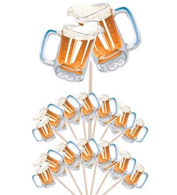 £4.99 • Buy  Beer Pint Party Food Cup Cake Picks Sticks Flag Birthday Decorations Toppers