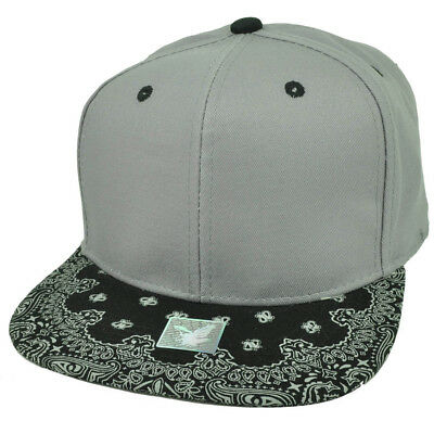 AU17.57 • Buy Gray Black Bandana Print Pattern Flat Bill Hat Cap Snapback Plain Blank Solid