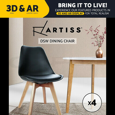 AU159.95 • Buy Artiss Retro Replica DSW Dining Chairs Padded Cafe Chair Kitchen Black X4