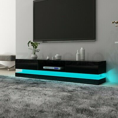 AU269.95 • Buy RGB LED 180CM TV Stand Cabinet Wooden Entertainment Unit 2 Drawers High Gloss BK