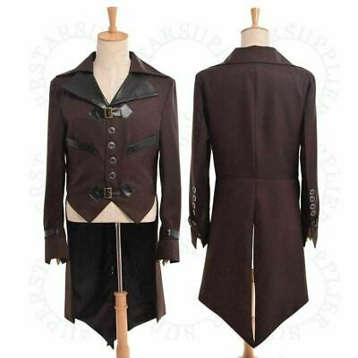 £19.99 • Buy Mens Swallow-tailed Coat Victorian Steampunk Aviator Cosplay Costume Collared