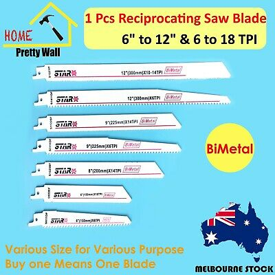 AU13.95 • Buy Reciprocating Saw Blade Set Wood Metal Sheet Pipe Blades BiMetal DIY 6  8  9  12