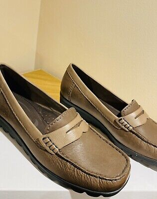 Ladies Jana Leather Brown Beige [cigar] Size 6.5 [h] Shoes Amazing Sole Grips • 17.99£