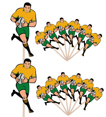 £4.99 • Buy Rugby Player Party Events Clubs Food Cake Picks Sticks Flags Decorations Toppers