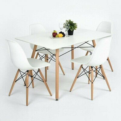 5 Piece Dining Table Set White Wood And 4 Chairs Kitchen Dining Room Furniture • 179.99$