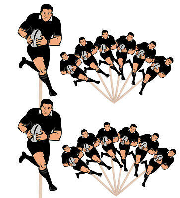 £4.99 • Buy Rugby Player Events Clubs Party Food Cake Picks Sticks Decorations Toppers Black