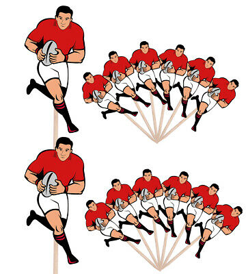 £4.99 • Buy Rugby Player Events Clubs Party Food Cake Picks Sticks Decorations Toppers Red