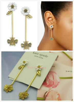 $ CDN42.66 • Buy NWT Authentic Kate Spade Gold-Tone Flower & Bee Linear Drop Earrings Wbruh384