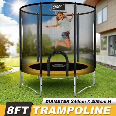 AU229.95 • Buy Genki 8ft Trampoline Junior Jumping W/Safety Enclosure Net Pad Gift Outdoor New