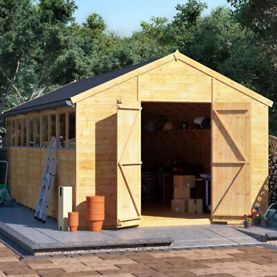 20x10 Ft T&G Wooden Garden Shed Double Door Windows Tool Store Apex Workshop • 1,795£