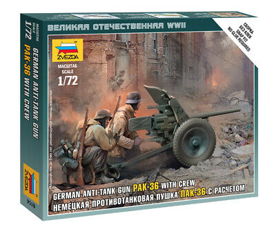 Zvezda 1/72 Figures - German PAK-36 Anti Tank Gun With Crew Z6114 • 4.95£