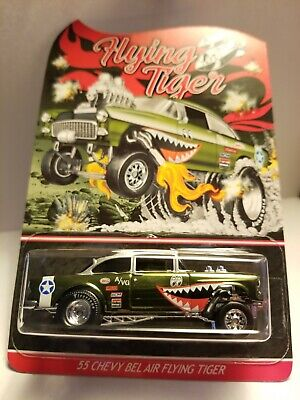 Hot Wheels 55 Chevy Bel Air Gasser Flying Tiger RLC Mint Carded Candy Real Rider • 229.99$