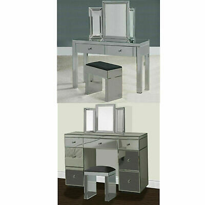 £154.99 • Buy Grey Mirrored Furniture Glass Dressing Table Bedroom Console Bevelled Venetian