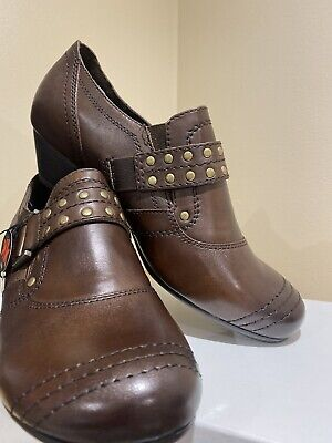 Ladies Jana Leather Shoe Brown Size 6.5h New Anti Shock Removable Sock Extra Rm • 15£