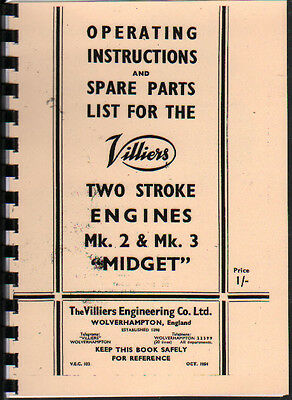 Villiers Mk. 2  & Mk. 3  Midget  Stationary Engine Operating Parts Manual Book • 8£