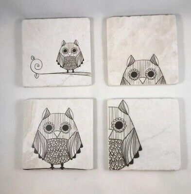 £18.11 • Buy Owl Stone Coasters Set Of 4 Absorbent