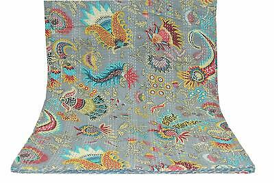Indian Mukut Print King Size Kantha Quilt Blanket Bed Cover Kantha Bedspread • 38.99£