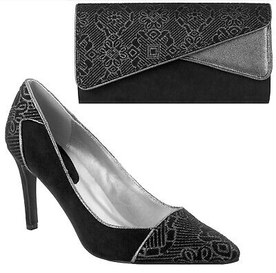 Ruby Shoo Sally Shoes & Sydney Bag Black Pewter Pointed Court Luxury • 71£