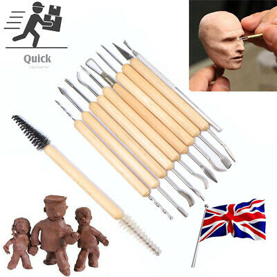 £7.96 • Buy 11x Pro Polymer Clay Sculpting Tool Set Wood Models Art Projects Pottery Tools