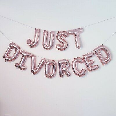 Just Divorced Rose Gold Balloon Banner - Divorce Party Decorations And Supplies • 5.50£