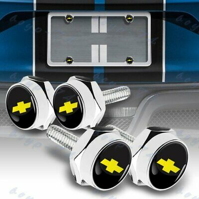 $9.99 • Buy SET Of Silver Car License Plate Frame Bolts Screws Caps Cover Nut Fit Chevrolet