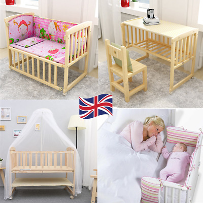 BABY Crib Bedside Cot Bed Wooden White Mattress Next To Me From Birth Cot • 59.58£
