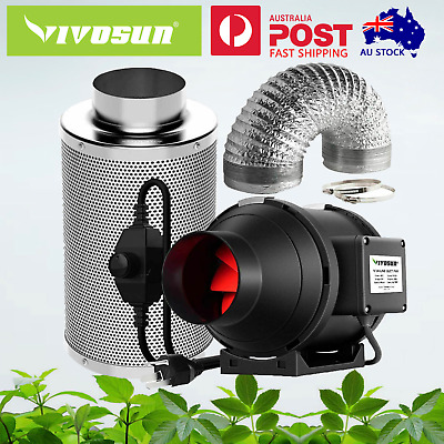 AU151.99 • Buy VIVOSUN 4  6  8  Inch Inline Duct Fan W/ Speeder Air Carbon Filter Ducting Combo