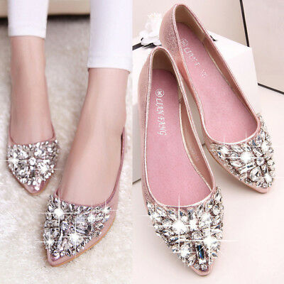 £15.29 • Buy Women Flat Rhinestone Wedding Shoes Ladies Slip On Pointed Toe Loafers Party