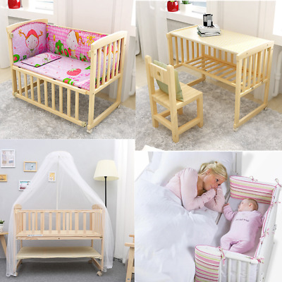 Solid Baby Crib Bedside Cot Bed Wooden White Mattress Next To Me From Birth Cot • 60.12£
