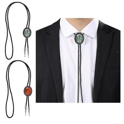 Antique Genuine Leather Opal Bolo Tie Western Cowboy Necktie String Jewelry • 6.92£