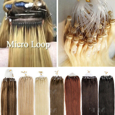 £34.27 • Buy 1G/S Micro Loop Ring Beads 100% Remy Human Hair Extensions 200G Nano Bonded Weft