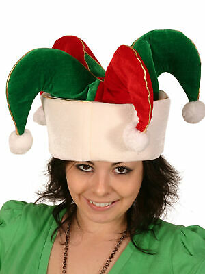 Jester Hat - For Halloween Party Fancy Dress - 3 Pointed R/Gr With Gold Trim • 6.79£